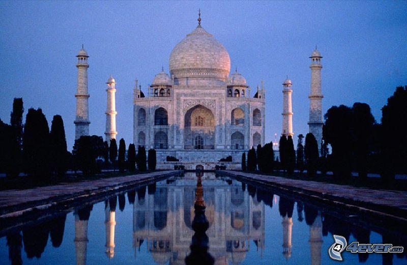 Taj Mahal, water, avenue of trees, reflection