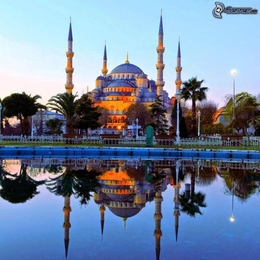 The Blue Mosque, Istanbul, lake, reflection