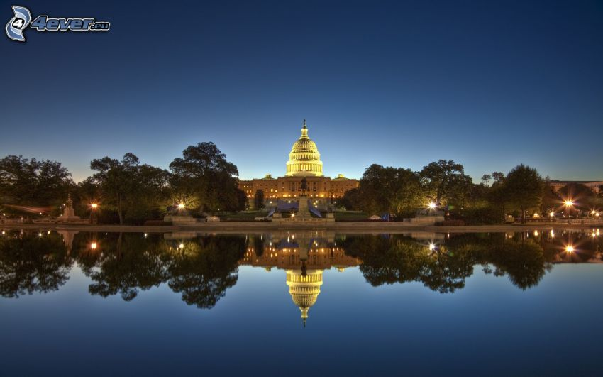 The Capitol, Washington DC, USA, evening, water, reflection, HDR