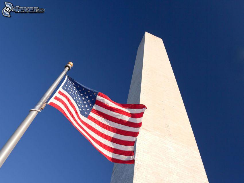 The Obelisk, Washington DC, USA, american flag, blue sky