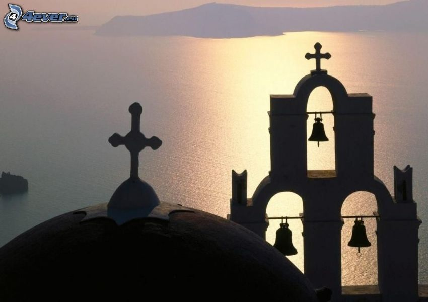 the silhouette of the church, bells, sea, Greece, fog