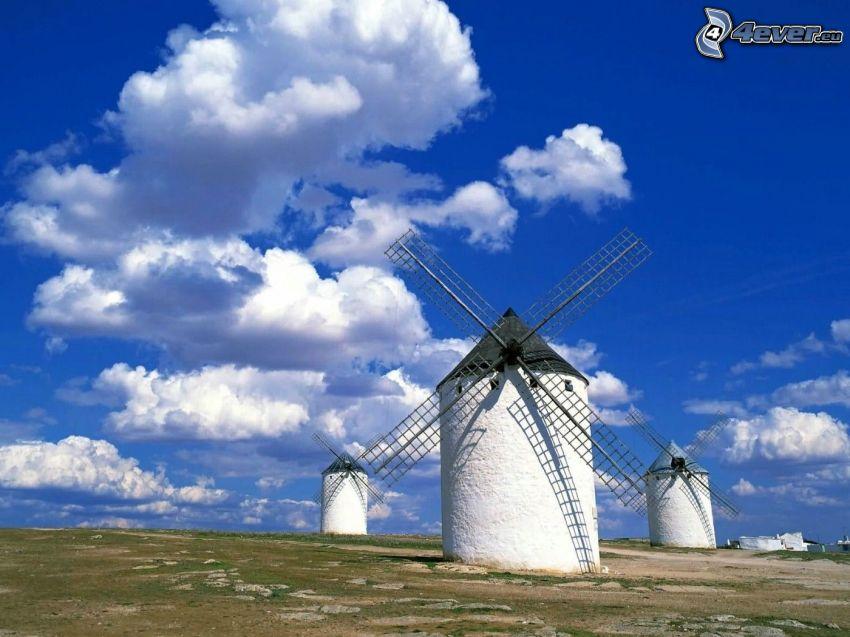 windmills, clouds
