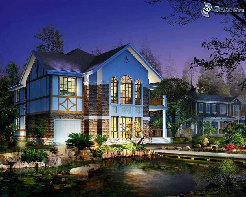 house, lake, evening