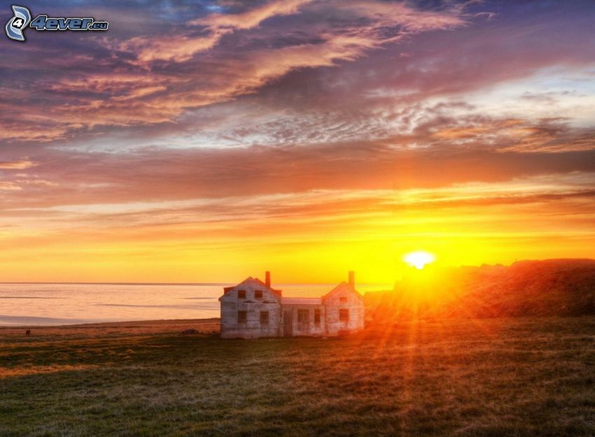 house, sunset over the sea, clouds