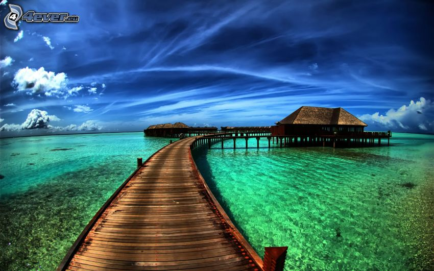 house on water, pier