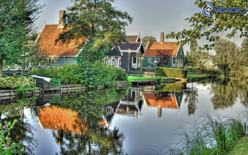 houses, stream, HDR