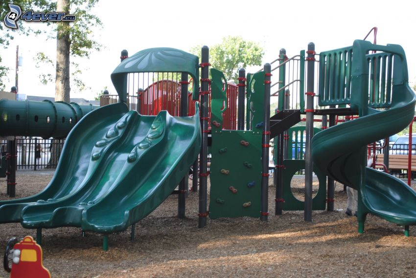 jungle gym, slide