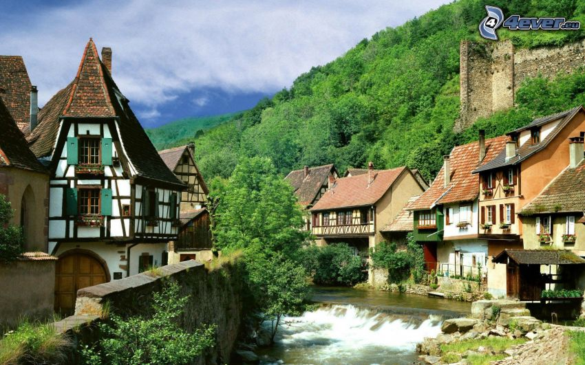 Kaysersberg, village, stream, houses