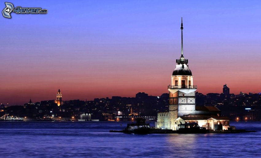 Kiz Kulesi, island, evening city
