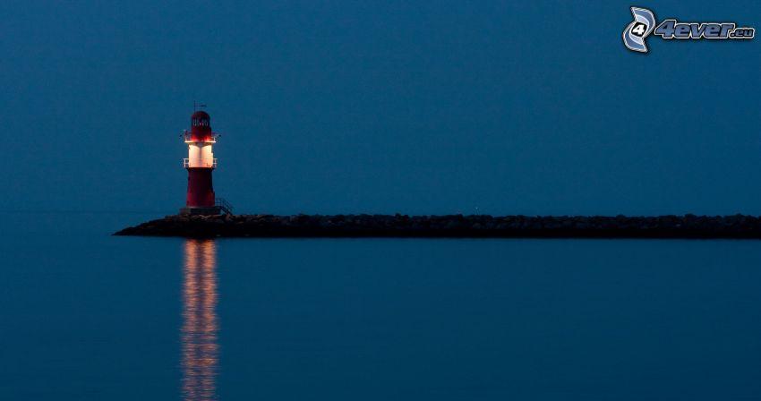 lighthouse, dam, coast, sea