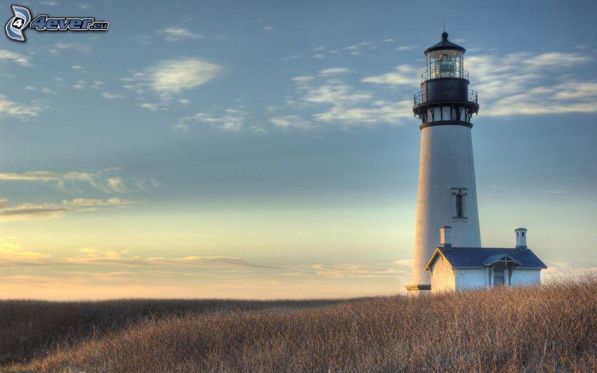 lighthouse, field, sky
