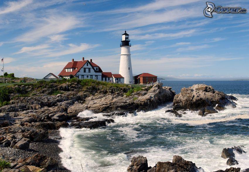 lighthouse, house, rocky shores, sea