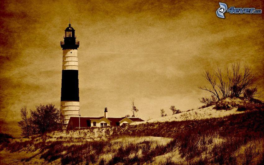 lighthouse, house, sepia