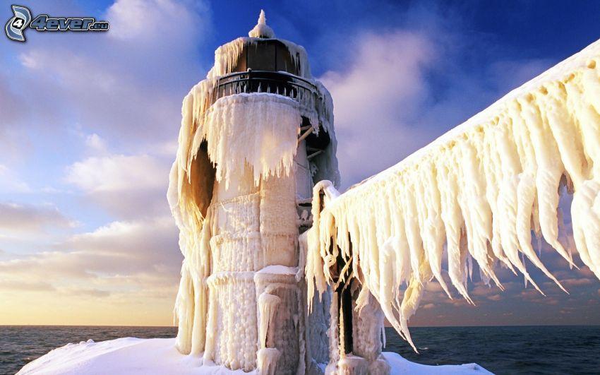 lighthouse, icicles, sea