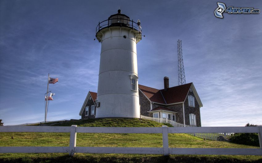 lighthouse, palings, house