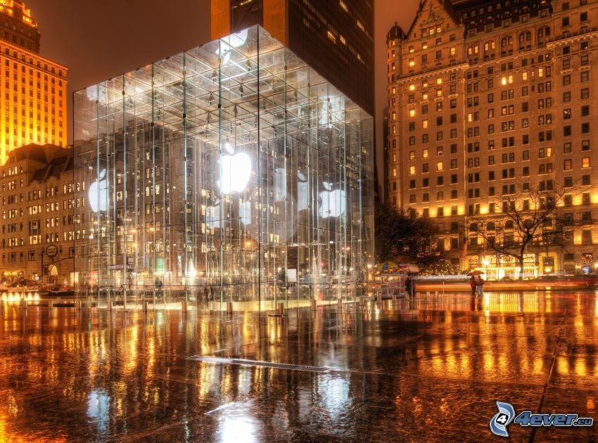Apple, buildings, HDR
