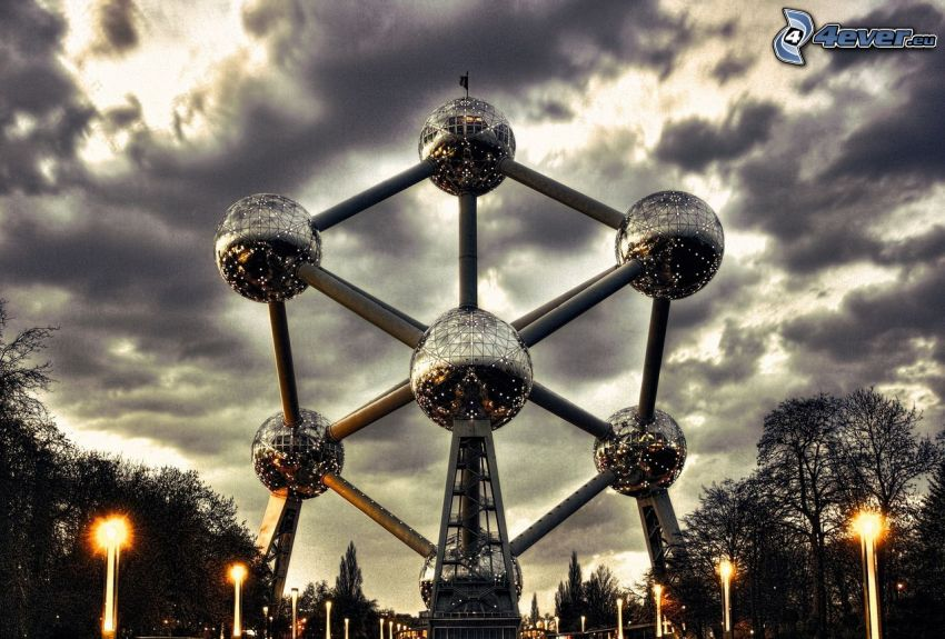 Atomium, Brussels, dark clouds, street lights