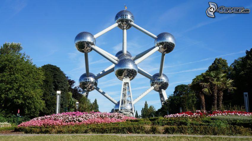 Atomium, Brussels, trees, flowers