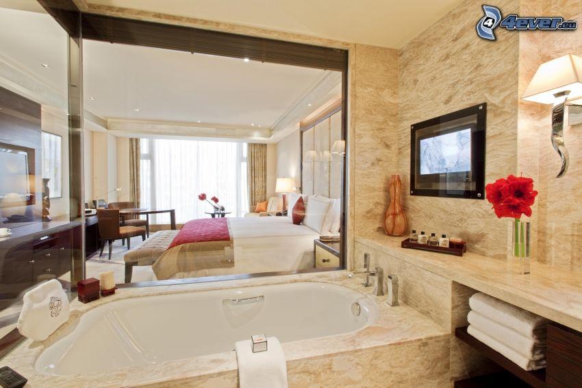 bedroom, bathroom, double bed, bath