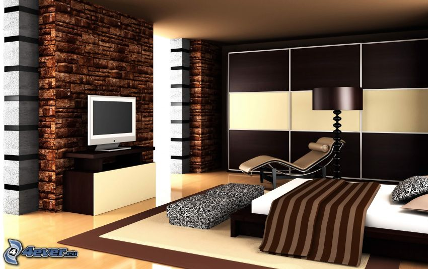 bedroom, bed, television