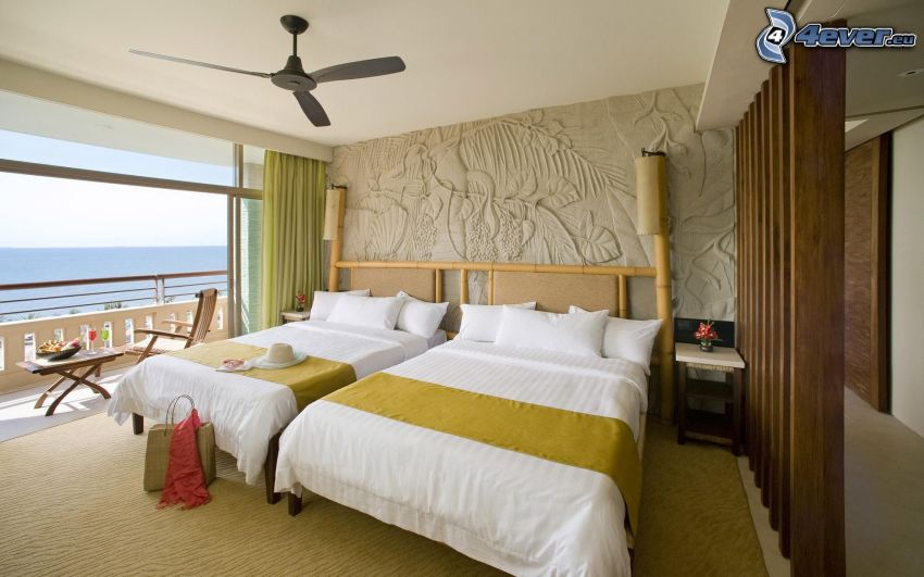 bedroom, double bed, the view of the sea