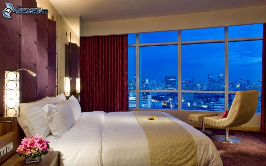 bedroom, double bed, view of the city, night city, window