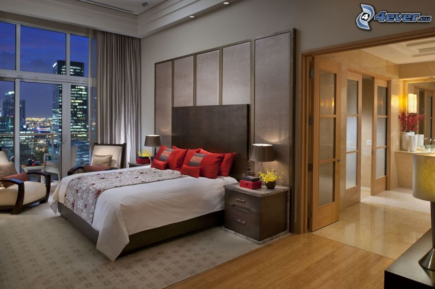bedroom, double bed, view of the city
