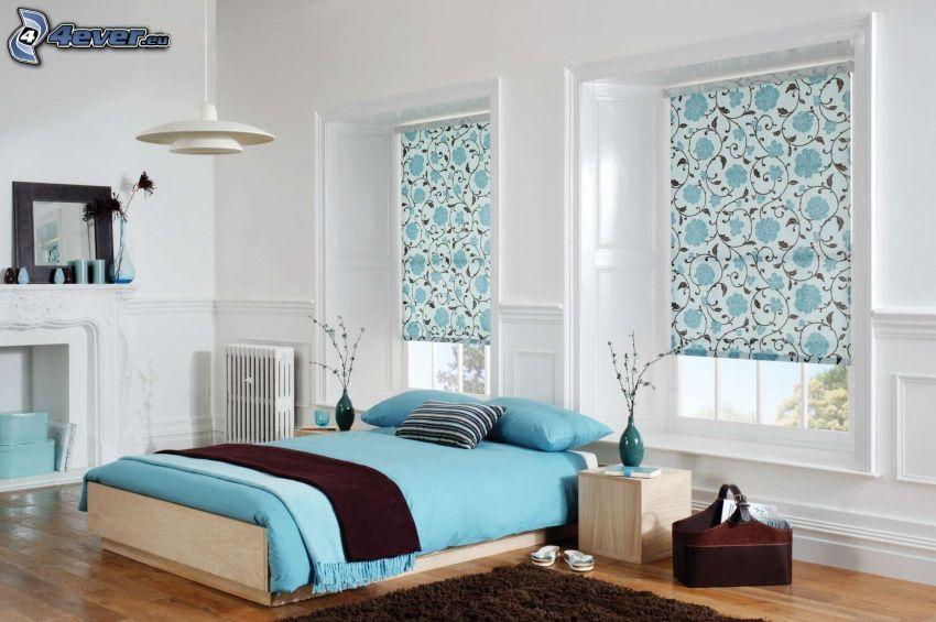bedroom, double bed, windows