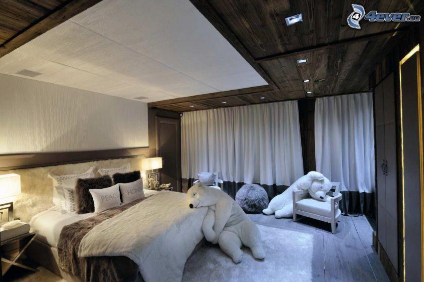 bedroom, teddy bear