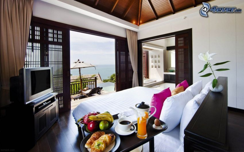 bedroom, the view of the sea, television