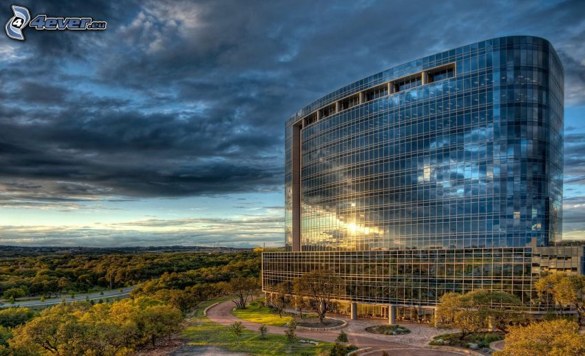 building, glass, Texas, USA, clouds, trees, HDR