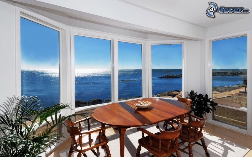 dining room, the view of the sea