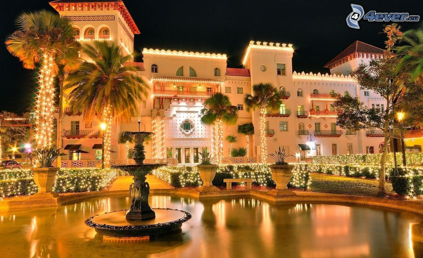 hotel, palm trees, lights