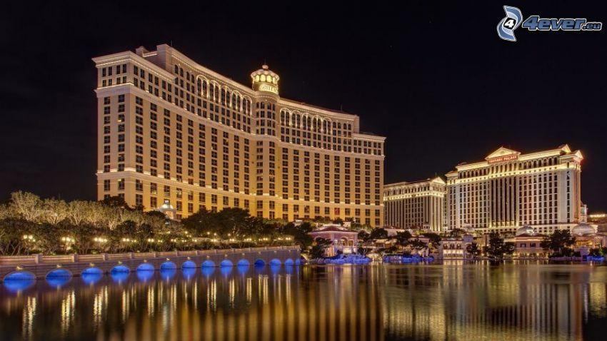 hotel Bellagio, Las Vegas, fountain, night city