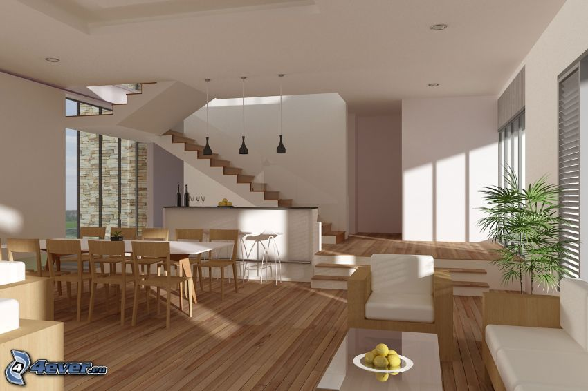 kitchen, living room, stairs