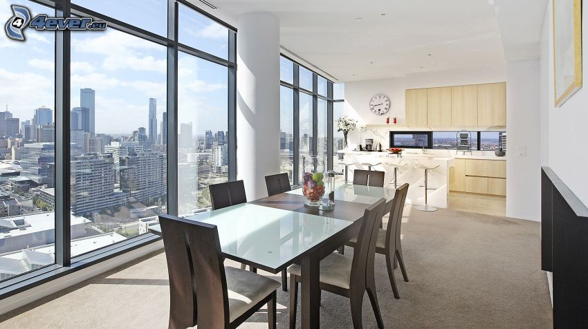 kitchen, view of the city