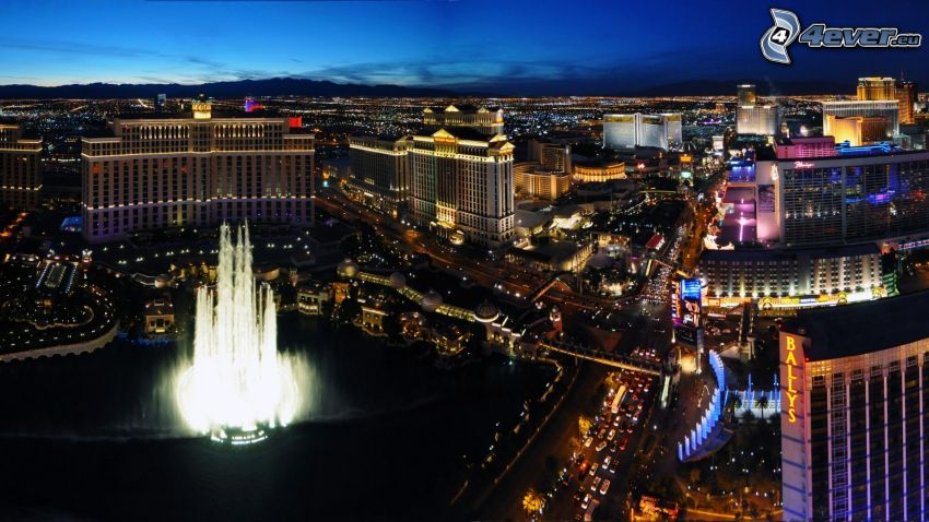 Las Vegas, fountain, night city