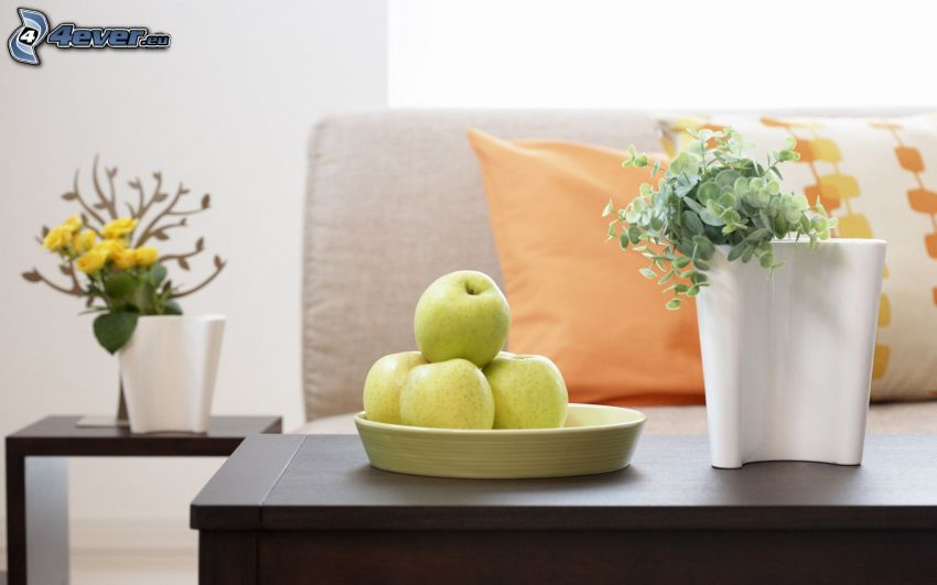 living room, green apples, flowers, couch