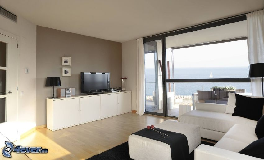 living room, the view of the sea, television
