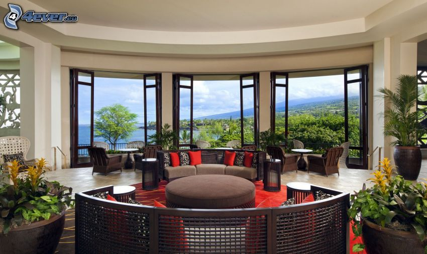 living room, the view of the sea