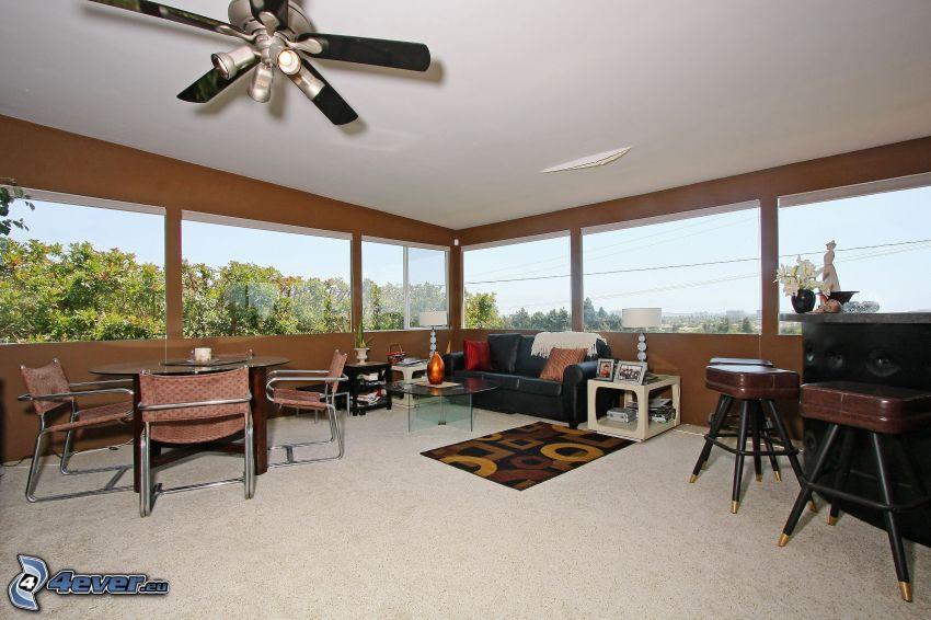 living room, windows