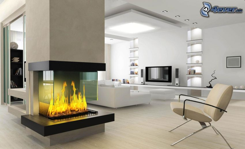 luxurious living room, fireplace, furniture