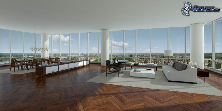 luxurious living room, kitchen, view of the city