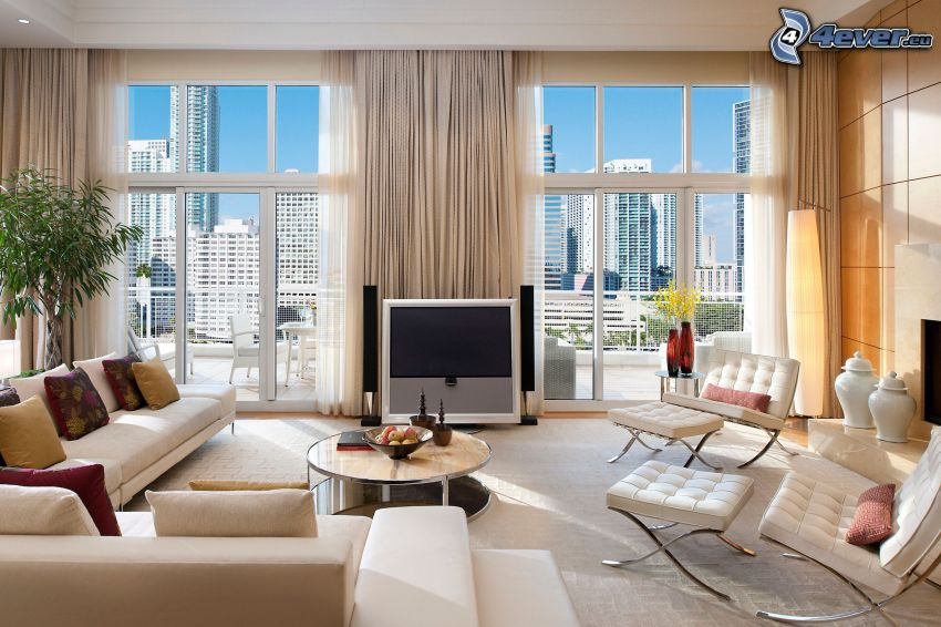 luxurious living room, view of the city, skyscrapers