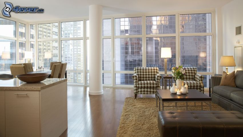 luxurious living room, view of the city