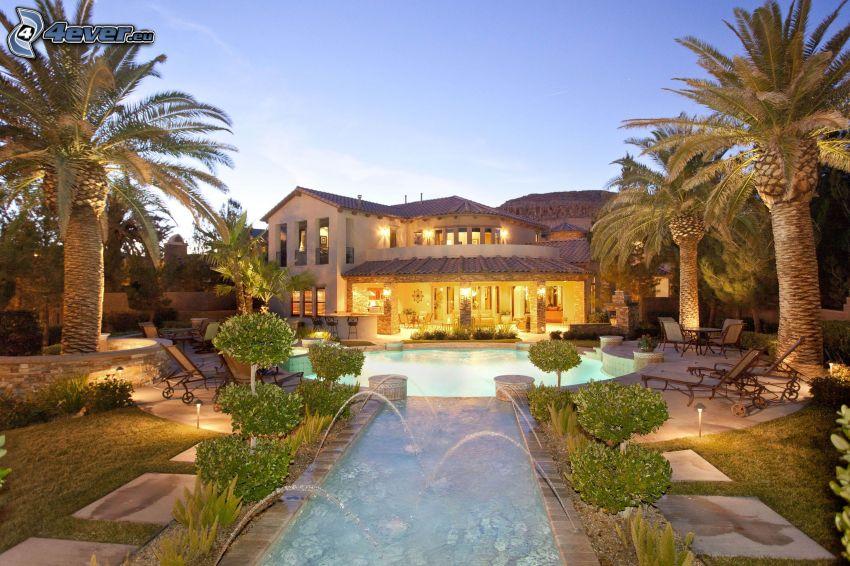 luxury house, fountain, palm trees