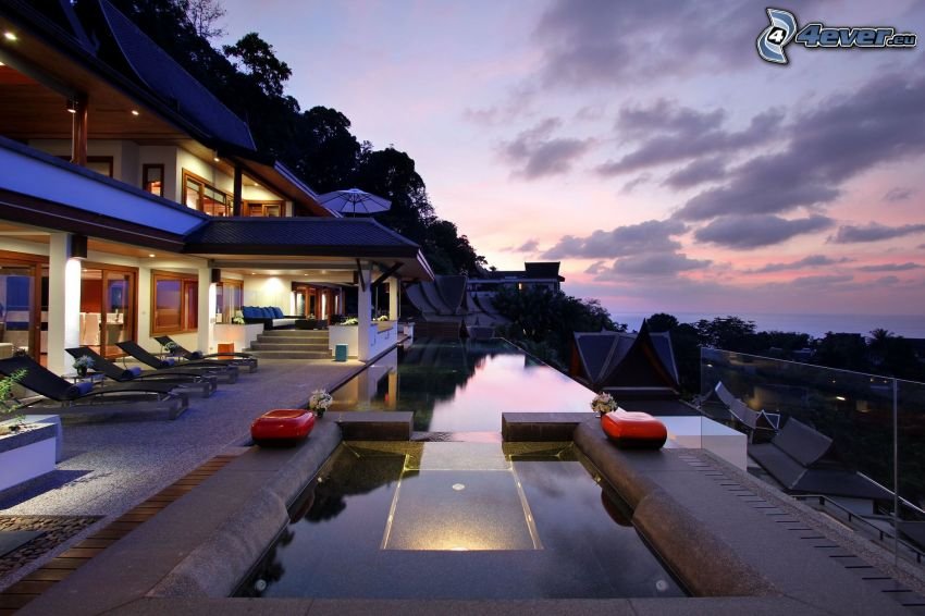 luxury house, pool, evening sky, terrace