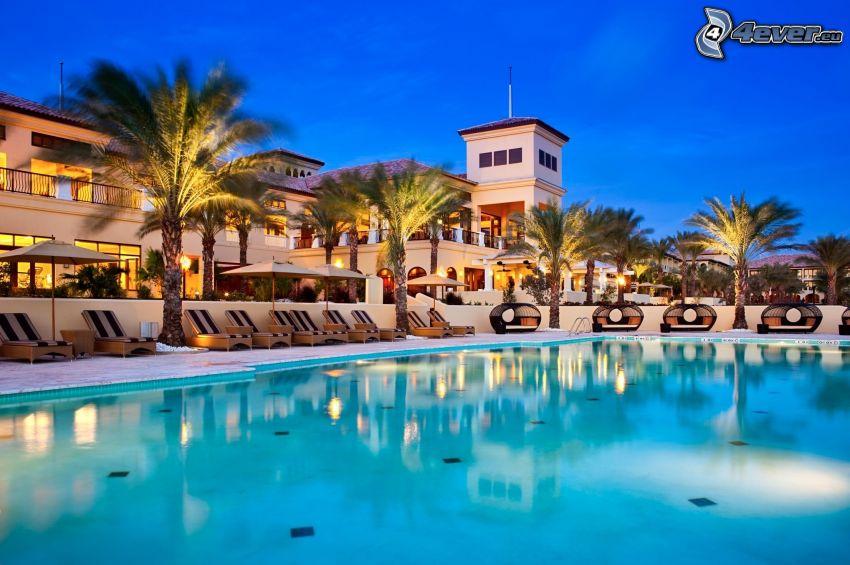luxury house, pool, palm trees