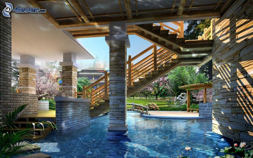 luxury house, stairs, pool