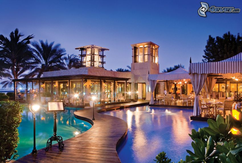 luxury house, wooden pier, pool, lights
